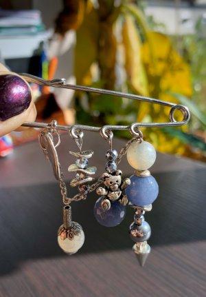 handmade Spilla argento-azzurro