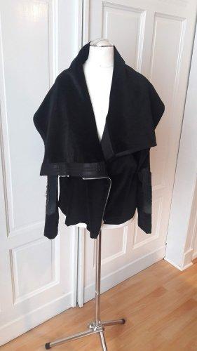 Chaqueta cruzada negro tejido mezclado