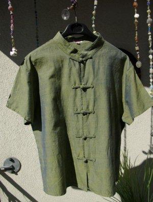 handmade Grün-Blau schimmernde Bluse Gr. M/L (Kunsthandwerksmarkt)