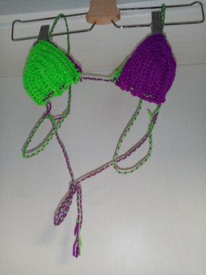 Handmade Top de ganchillo lila-verde neón
