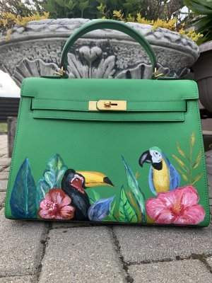 "Handmade hand painted Tropical ""Hermes Kelly"" Style luxury bag with parots"