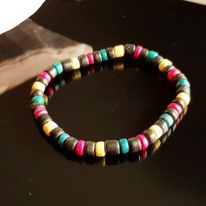 Bracelet en perles gris foncé
