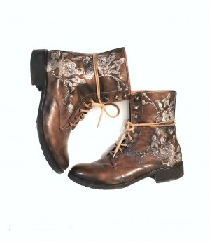 Handmade italy Stiefeletten Boots Stickerrei Vero Cuoio