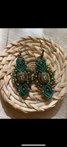 handmade Zdobione kolczyki brąz-zielony