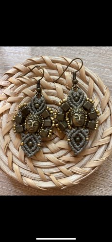 handmade Zdobione kolczyki jasnobrązowy-brąz