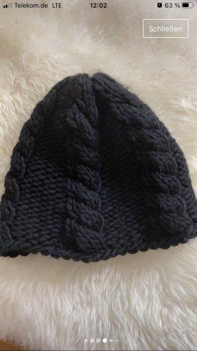 Handmade Knitted Hat black wool