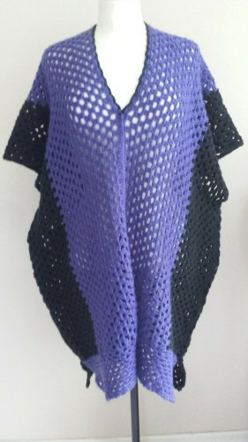 Selbst gemacht Poncho en tricot violet foncé-noir coton