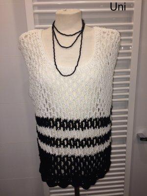 Cardigan long noir-blanc
