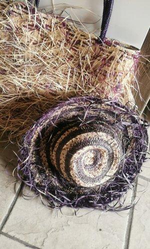 Bolso tipo cesta marrón claro-lila