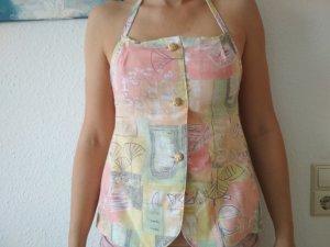 Handmade Top senza maniche giallo chiaro-rosa pallido