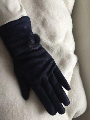 Guantes con dedos azul oscuro