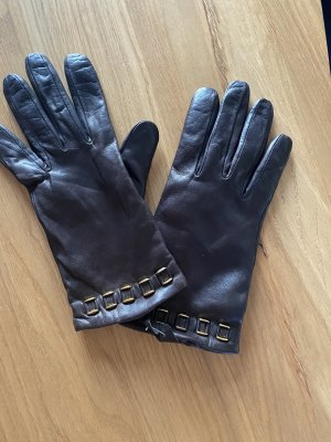 Otto Kern Leather Gloves dark brown-black brown leather
