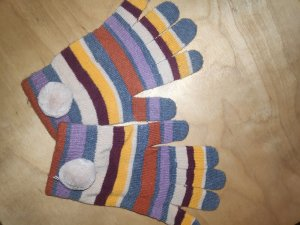 Gebreide handschoenen roodbruin-braambesrood