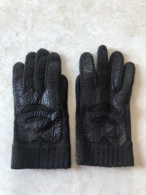 Gebreide handschoenen donkerbruin-zwart bruin