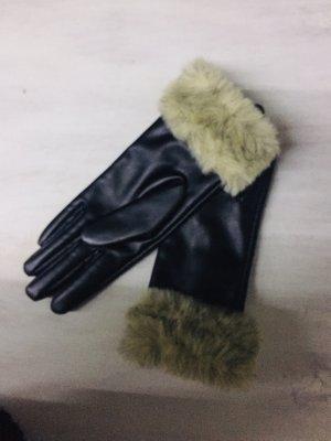 Rękawiczki z imitacji skóry czarny-szaro-brązowy