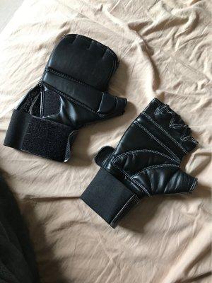 Adidas Rękawiczki z imitacji skóry czarny-biały