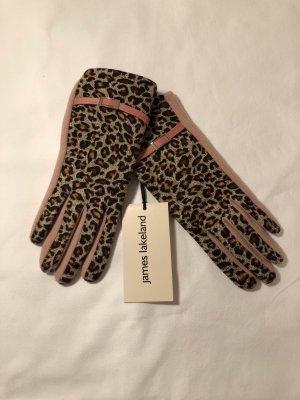 James Lakeland Rękawiczki z dzianiny brązowy-różowy