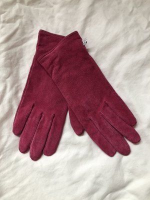Leather Gloves raspberry-red leather