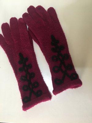 Guantes con dedos púrpura-negro