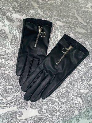 Zara Leren handschoenen zwart