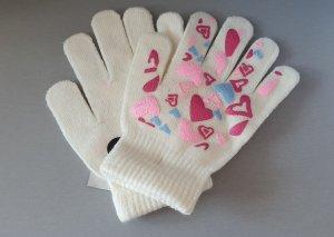 Handschuhe creme mit Herzchen Motiv Gr S