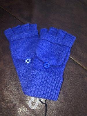 Guantes sin dedos azul tejido mezclado