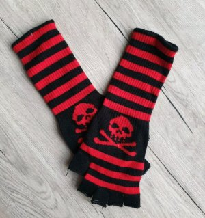 Fingerless Gloves black-dark red