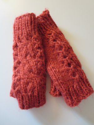 Warehouse Fingerless Gloves bright red polyacrylic