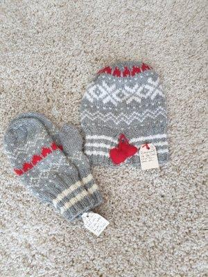 Handmade Gebreide handschoenen wit-lichtgrijs