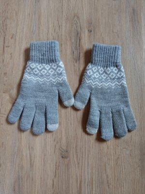 Rękawiczki z dzianiny szary-jasnoszary