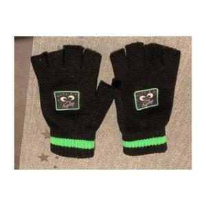 Guantes sin dedos negro-verde