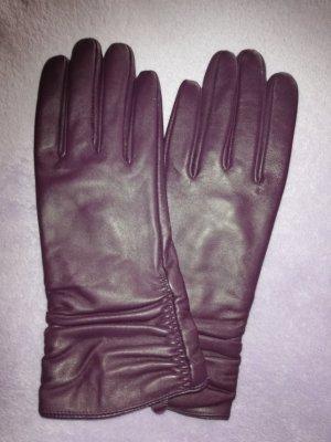 Guantes de cuero violeta grisáceo