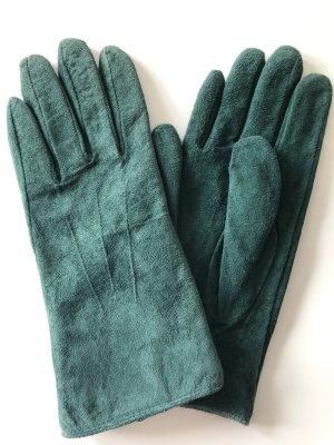 H&M Gants en cuir bleu pétrole-bleu cadet