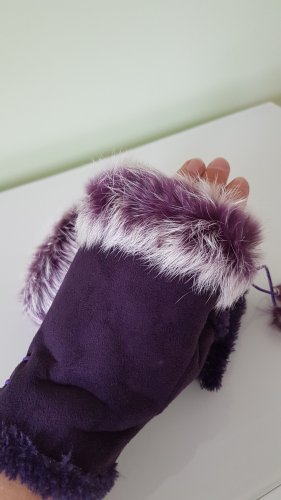 Handschuhe mit echtem Fell in Lila Gr. M/L