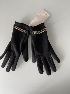 Orsay Rękawiczki z imitacji skóry czarny-złoto