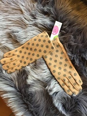 Rękawiczki camel-ciemnoszary Tkanina z mieszanych włókien