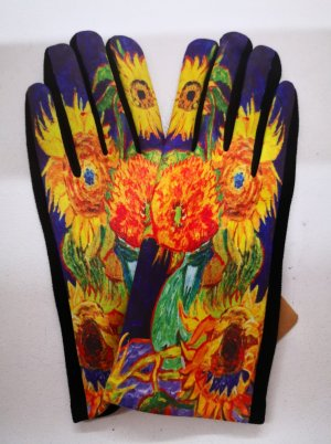 Faux Leather Gloves black-yellow