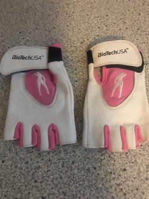 Fingerless Gloves white-neon pink