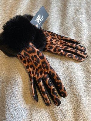 Gloves black-camel