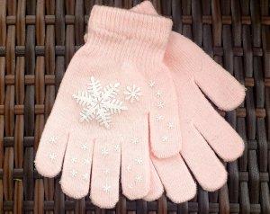 Guanto con dita rosa pallido-bianco Cotone