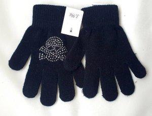 Handschuhe schwarz Gr S/M mit Nieten Totenkopf Applikation