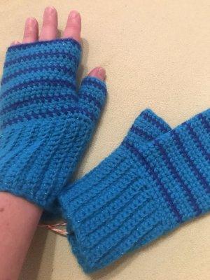 Unikat Einzelstück Handschoenen zonder vingers turkoois-azuur
