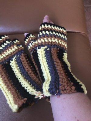 Handschuhe Stulpen neu braun/gelb