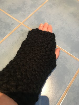 Unikat Einzelstück Fingerless Gloves black