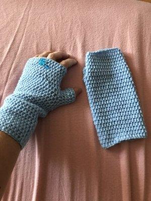 Handmade Mitaine bleu azur