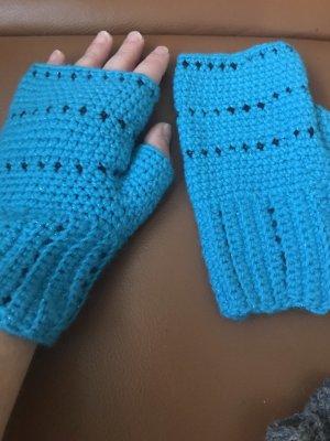 Unikat Einzelstück Handschoenen zonder vingers turkoois