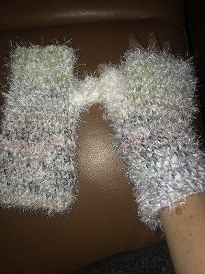 handmade unikat Guanto senza dita bianco-bianco sporco
