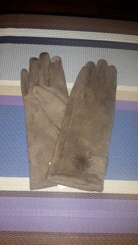 Rękawiczki z imitacji skóry beżowy