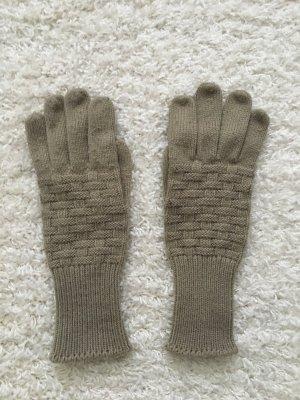 Guanto in maglia beige-marrone-grigio