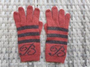 Blumarine Gants en tricot rouge foncé-noir polyester